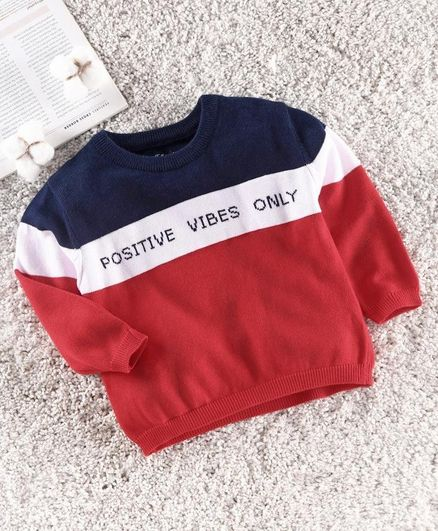 ToffyHouse Full Sleeves Sweater Text Design - Red & Navy Blue