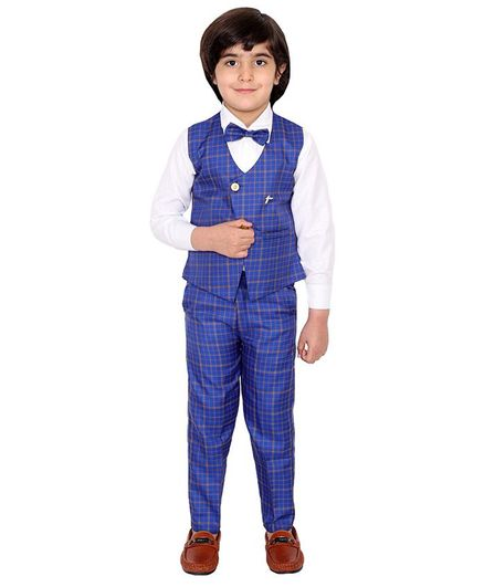 Fourfolds 3 Piece Suit Set Full Sleeves Checked Waistcoat With Shirt Trouser & Bow Tie  - Blue