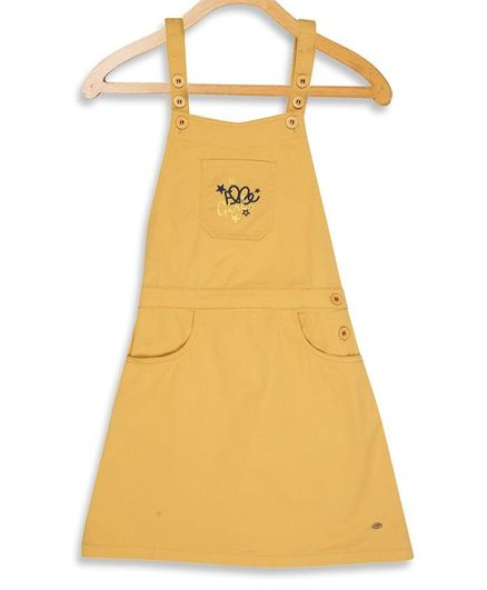 Elle Kids Embroidered Sleeveless Dungaree  - Yellow