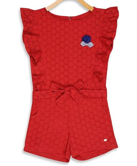 Elle Kids Embroidered Sleeveless Jumpsuit - Red