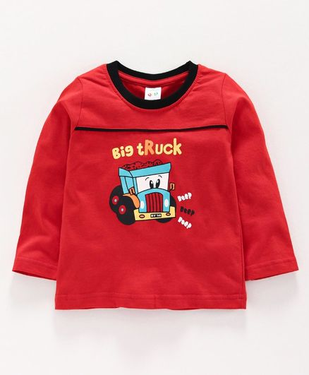 Tango Full Sleeves Tee Vehicle Print - Red