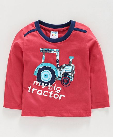 Tango Full Sleeves T-Shirt Tractor Print - Red