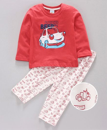 Tango Full Sleeves Tee & Lounge Pant Car Print - White Coral