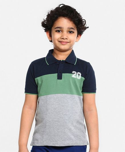 Pine Kids Half Sleeves Biowashed Tee - Green Navy Blue Grey