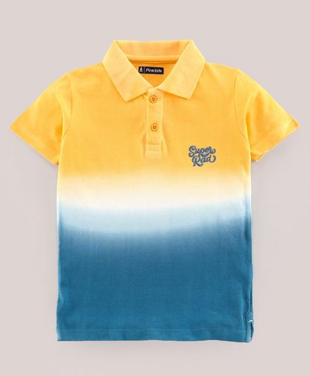 Pine Kids Half Sleeves Tee Super Rad Embroidery - Yellow Blue White