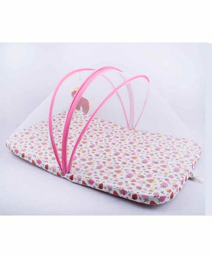 Blooming Buds Mattress with Zippered Mosquito Net Strawberry Print - Pink
