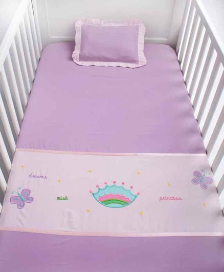 Blooming Buds Cotton Cot Sheet and Pillow Cover Crown Embroidery - Light Pink