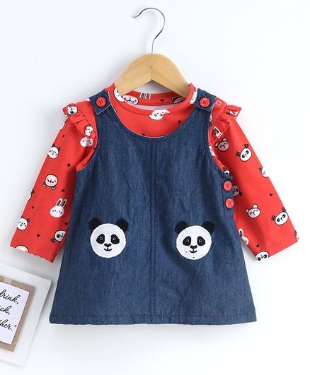 Babyoye Frock with Full Sleeves Tee Panda Print - Navy Red