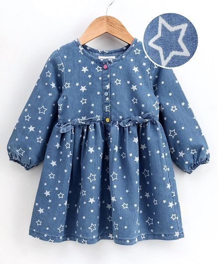 Babyoye Balloon Sleeves Denim Frock Star Print - Blue