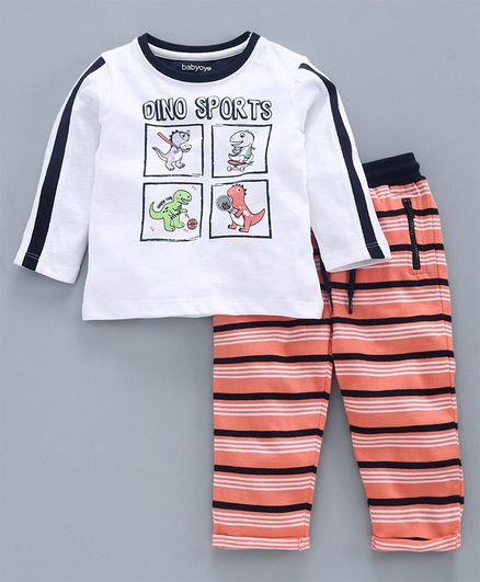 Babyoye Full Sleeves Tee & Stripes Lounge Pant Dino Sport Print - White Peach