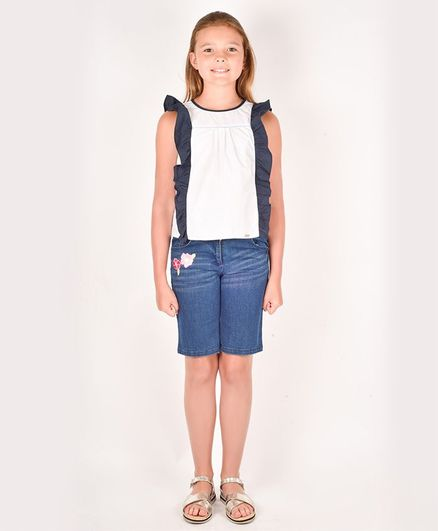 One Friday Sleeveless Colour Block Pattern Top - White