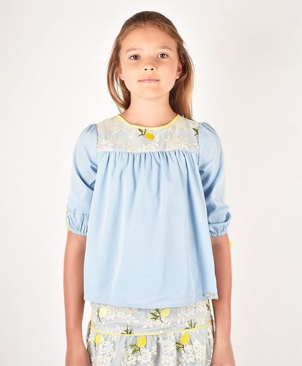 One Friday Half Sleeves Flower Lace Detailed Top - Blue