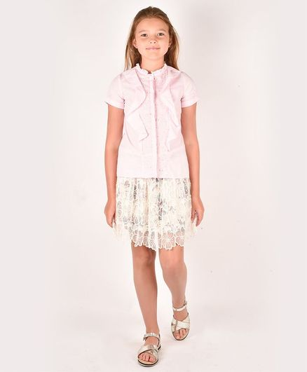 One Friday Half Sleeves Pearl Embellished Frilled Top - Pink
