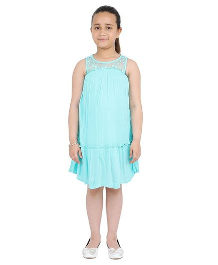 One Friday Sleeveless Tiny Flower Embroidery Tiered Dress - Mint