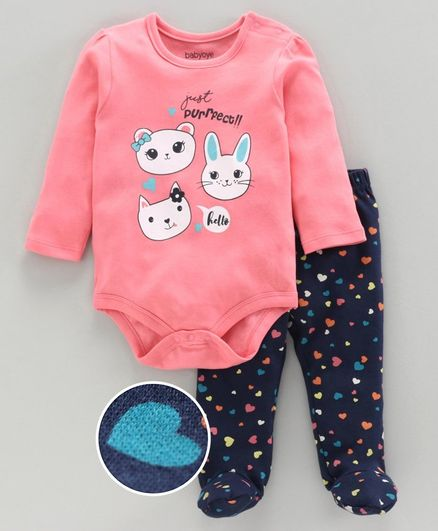Babyoye Full Sleeves Onesie with Bootie Leggings Animal Print - Pink
