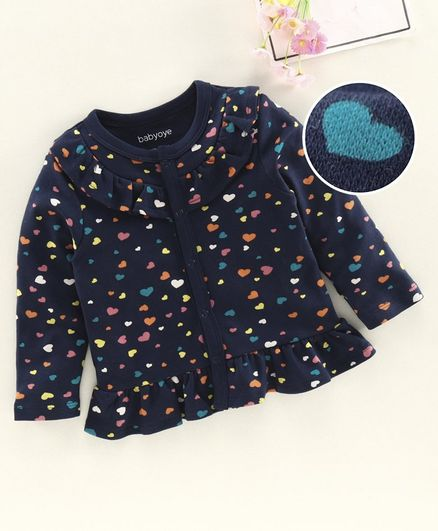 Babyoye Full Sleeves Jhabla Heart Print - Navy
