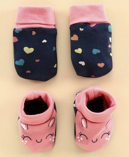 Babyoye Mittens and Booties Heart Print - Blue