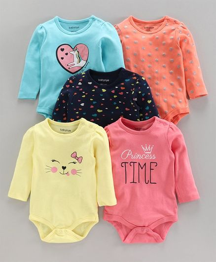 Babyoye Full Sleeves Printed Onesies Pack of 5 - Multicolor
