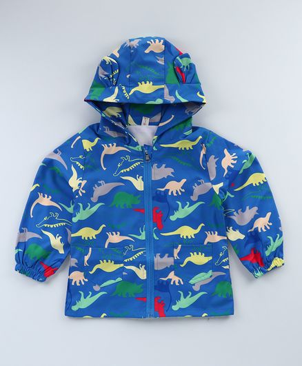 Kookie Kids Full Sleeves Hooded Sweat Jacket Dino Print - Blue