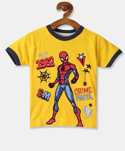 Colt Half Sleeves Spider Man Print Tee - Yellow