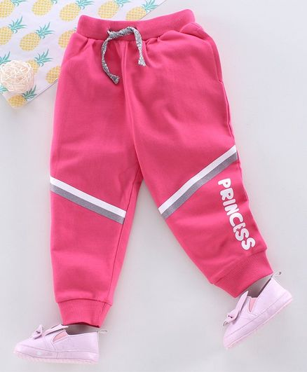 Babyhug Full Length Lounge Pant Princess Print - Pink