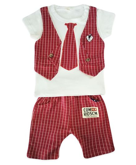 Awabox Half Sleeves Tee With Attached Checkered Waistcoat & Tie With Shorts - Red