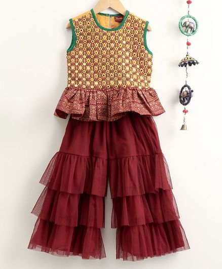 Twisha Sleeveless Mirror Work Peplum Top With Sharara - Maroon