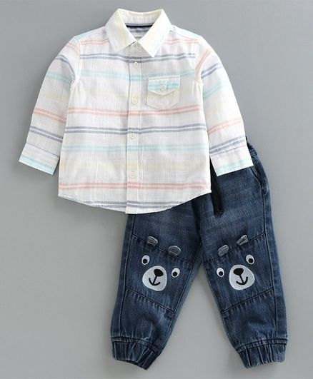 Babyoye Full Sleeves Striped Shirt & Jogger Jeans Bear Embroidery - White Blue