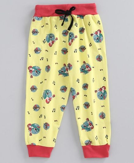 Eteenz Full Length Lounge Pant Tom & Jerry Print - Yellow