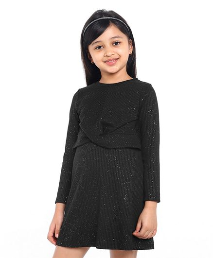 Pine Kids Full Sleeves Glitter Embellished Frock - Black