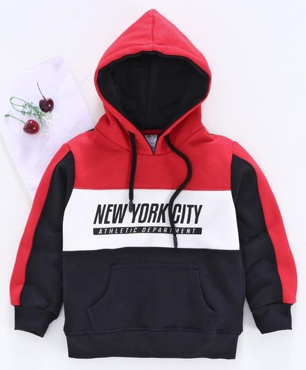 Smarty Full Sleeves Hooded Sweatshirt New York City Print - Red