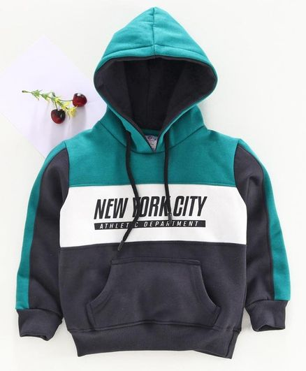 Smarty Full Sleeves Hooded Sweatshirt New York City Print - Green