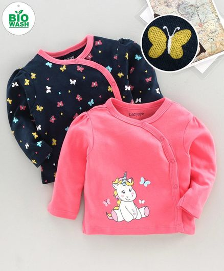 Babyoye Full Sleeves Jhablas Butterfly & Unicorn Print Pack of 2 - Pink Navy Blue