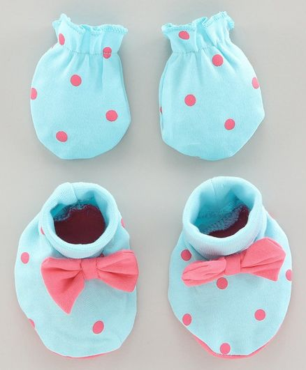 Babyoye Mittens & Booties Bow Applique - Blue