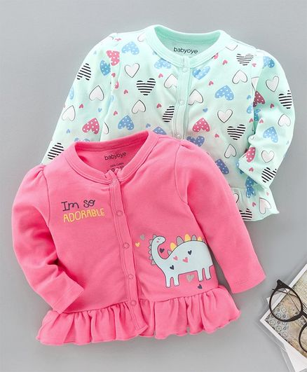 Babyoye 100%Cotton Full Sleeves Jhablas Heart & Dino Print Pack of 2 - Pink Blue