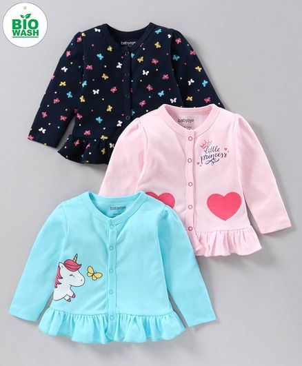 Babyoye Full Sleeves Jhabla Heart & Butterfly Print Pack of 3 - Blue Pink