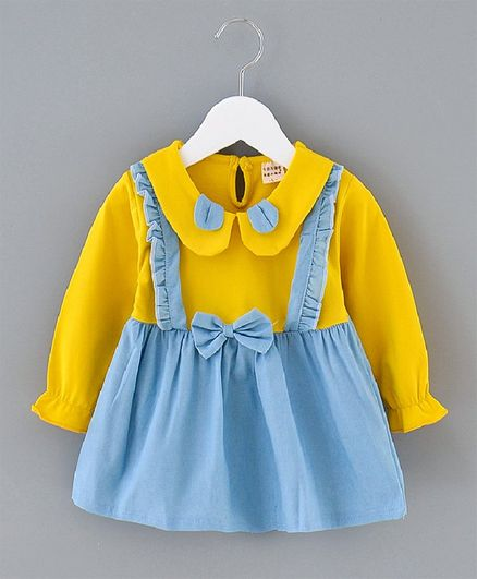 Kookie Kids Peasant Sleeves Frock Bow Applique - Yellow Blue