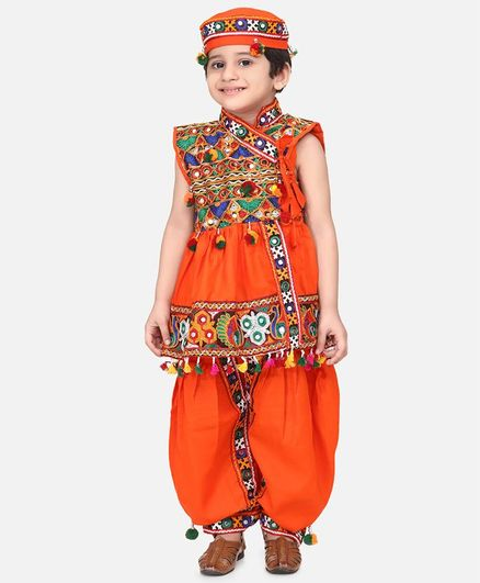 BownBee Sleeveless Mirror Work Kedia With Dhoti & Cap - Orange