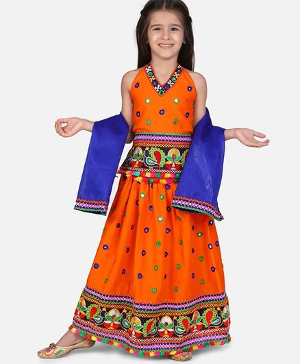 BownBee Full Sleeves Halter Neck Mirror Work Embroidered Hem Choli With Lehenga & Dupatta - Orange