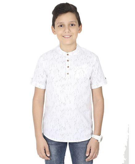 MANET Half Sleeves Printed Shirt  - White