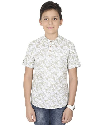 MANET Half Sleeves Leaves Printed Shirt With Pocket  - Green
