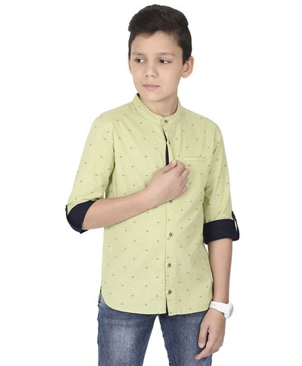 MANET Melange Three Fourth Sleeves Ship Printed Shirt With Pocket  - Green