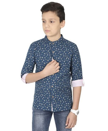 MANET Melange Three Fourth Sleeves Flower Print  Shirt - Blue