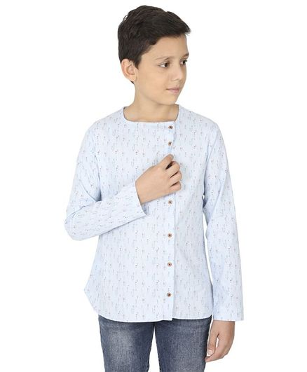 MANET Full Sleeves Printed Shirt - Blue & White