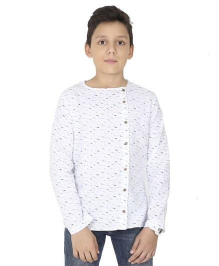 MANET Bohemian Full Sleeves Birds Print Shirt - White