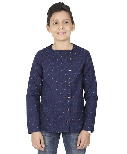 MANET Bohemian Full Sleeves Printed Shirt - Navy Blue
