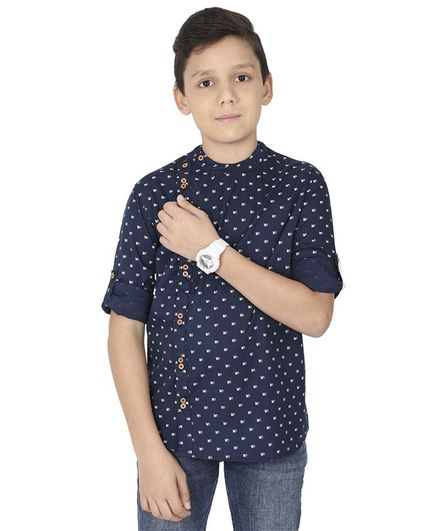 MANET Full Sleeves Printed Shirt - Blue