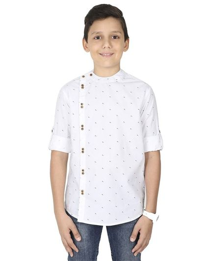 MANET Full Sleeves Printed Shirt - White