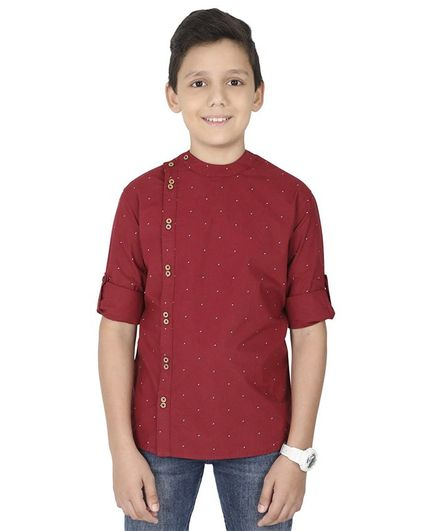 MANET Full Sleeves Triangle Print Shirt - Maroon