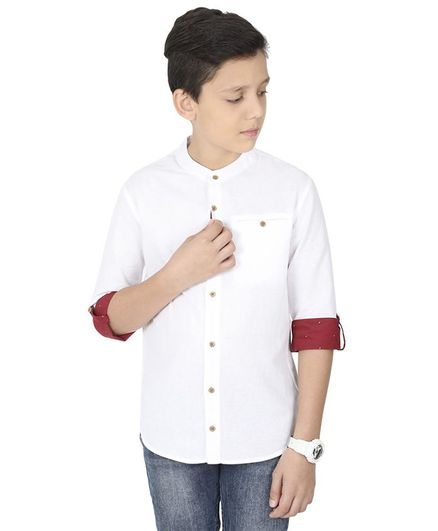 MANET Melange Three Fourth Sleeves Solid Shirt Solid - White